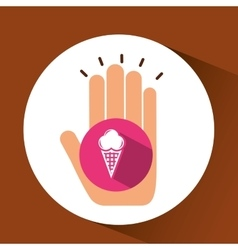 Two hands holding ice cream vector