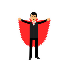 Vampire character posing with red cape count vector