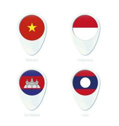 Vietnam indonesia cambodia laos flag location map vector