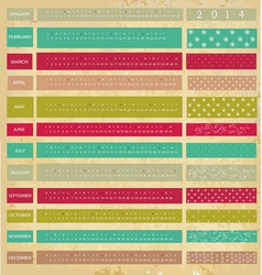 Vintage calendar for 2014 year vector image