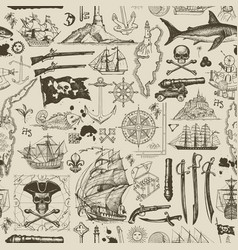 vintage seamless pattern on pirate theme vector image
