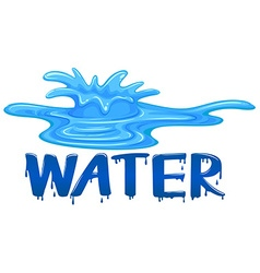 Water splash with the word water vector