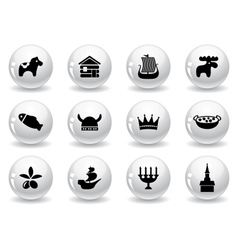 Web buttons swedish icons vector