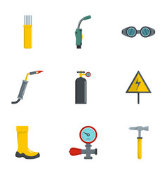 Welding tool icons set cartoon style vector