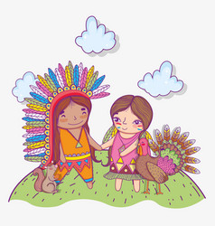 Woman and man indigenous with turkey and clouds vector