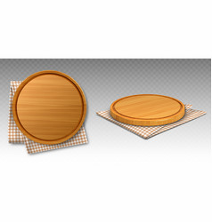 wooden pizza and cutting boards on kitchen towel vector image