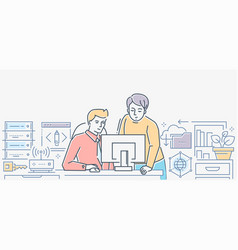 work process - colorful line design style vector image