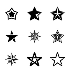 black stars icons set vector image