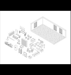 line furniture set in isometric view vector image
