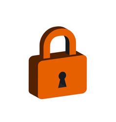 lock symbol flat isometric icon or logo 3d style vector image