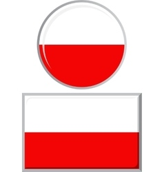 Polish round and square icon flag vector image