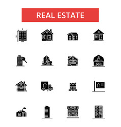 real estate thin line icons linear vector image vector image