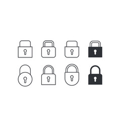 set of locks icons on white background vector image vector image