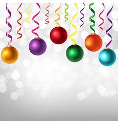 Border With Color Serpentine And New Years Toys vector image vector image