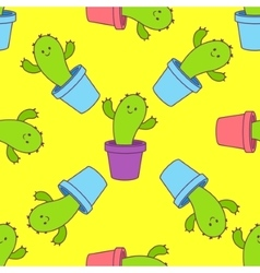 Cactus in a pot seamless pattern vector