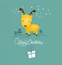 merry christmas card with christmas deer vector image
