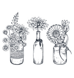 bouquets with hand drawn flowers and plants in vector image