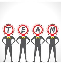Businessmen bulb face make a team vector image