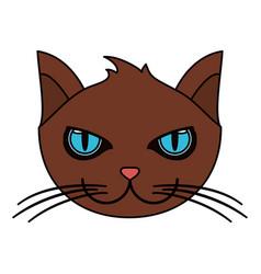 Color image cartoon face cat animal vector