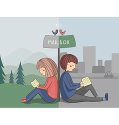 Girl and boy read mail vector image vector image