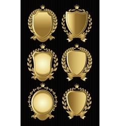 set of gold heraldic of nameplates for design vector image