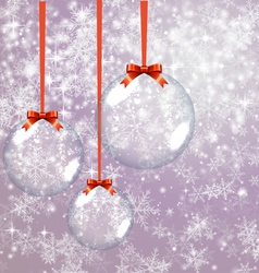 Christmas background with glass balls vector