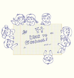 cute little kids show a blank exercise book vector image