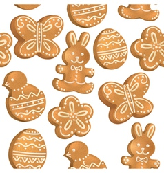 Seamless pattern of Easter cookies vector image vector image