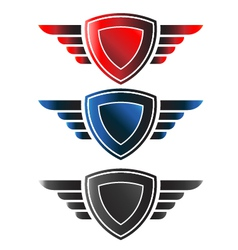 Shield with wings logo vector image vector image