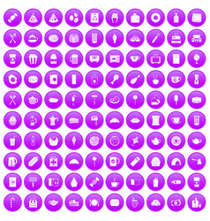 100 cafe icons set purple vector