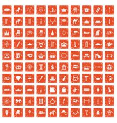 100 crown icons set grunge orange vector