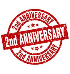 2nd anniversary round red grunge stamp vector image