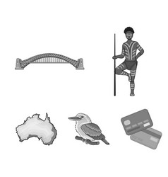 Aborigine with a spear sydney harbor bridge vector