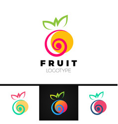 abstract fruit logo template with spiral element vector image