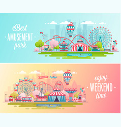 Amusement park landscape banners with carousels vector