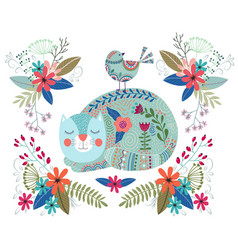 Art colorful with cute cat vector