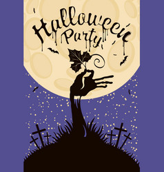 banner for halloween with zombie hand at cemetery vector image