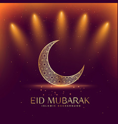 Beautiful eid mubarak festival with crescent moon vector