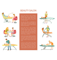 Beauty salon poster with beauticians set vector