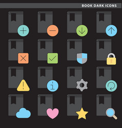 Book dark icons vector