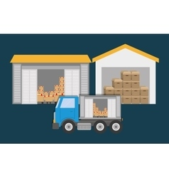 Box truck delivery shipping icon graphic vector image