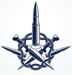 Bullets emblem revolution and war logo vector