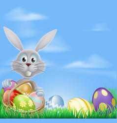 bunny and chocolate easter eggs vector image