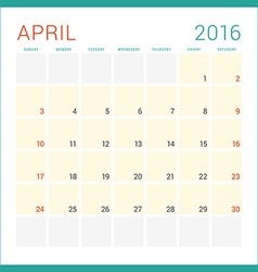 Calendar 2016 Flat Design Template April Week vector