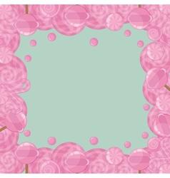 Candy lollipops frame vector
