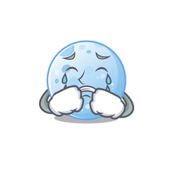 Cartoon character blue moon with a crying face vector