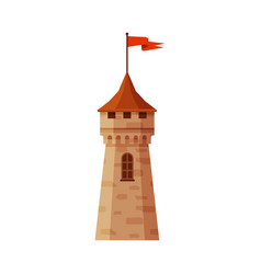 Castle tower with flag part medieval ancient vector