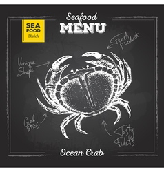 Chalk drawing sketch set of seafood Crab vector