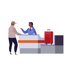 Check in airport terminal border security vector