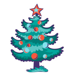 christmas tree with red star and tree balls vector image